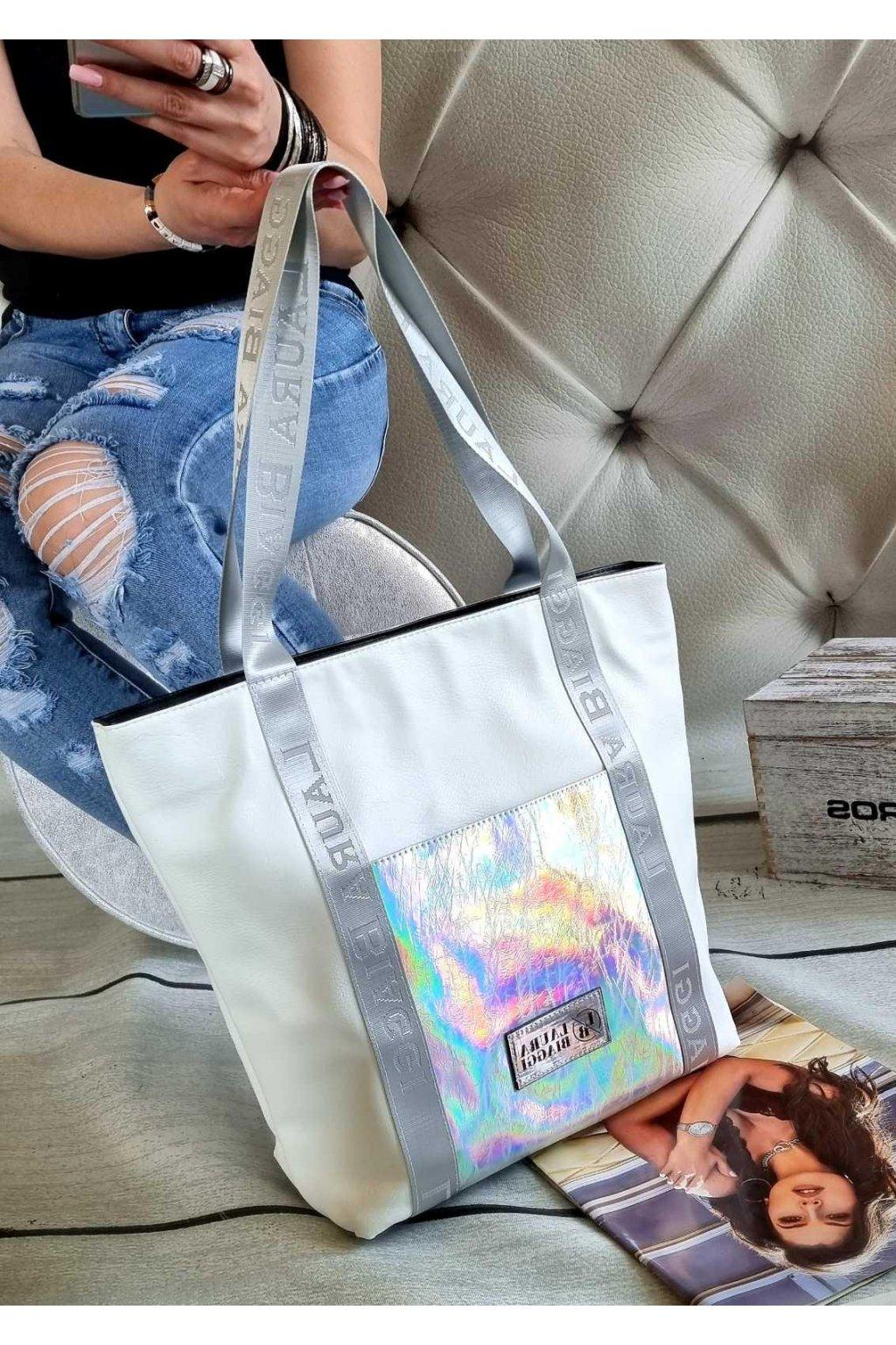 kabelka laura biaggi velká bílostříbrná trendy luxusní značková kabelka stylová