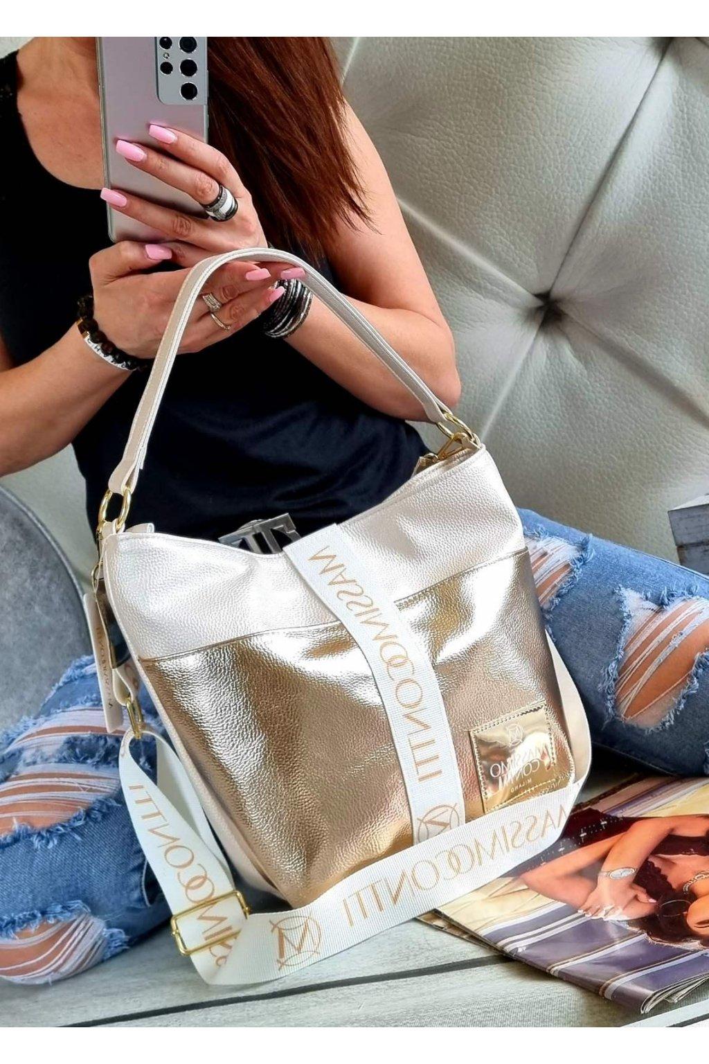 Massimo contti kabelka trendy luxusní značková kabelka italy fashion bílochampagne zlatá