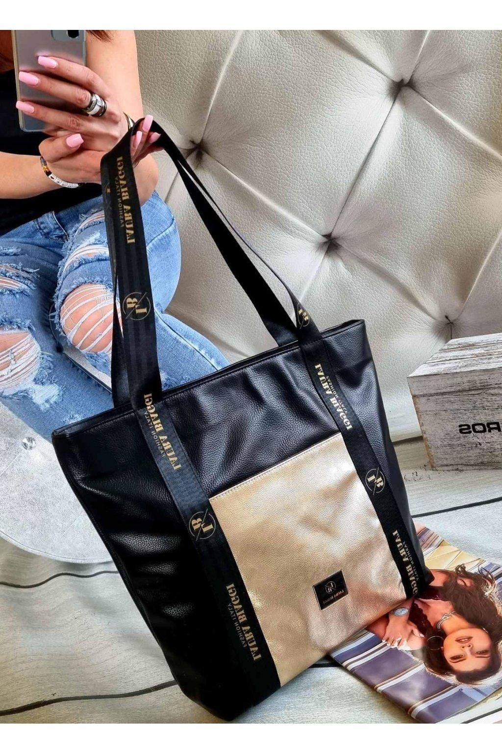 kabelka trendy maxi laura biaggi černozlatá značková luxusní kabelka italy fashion