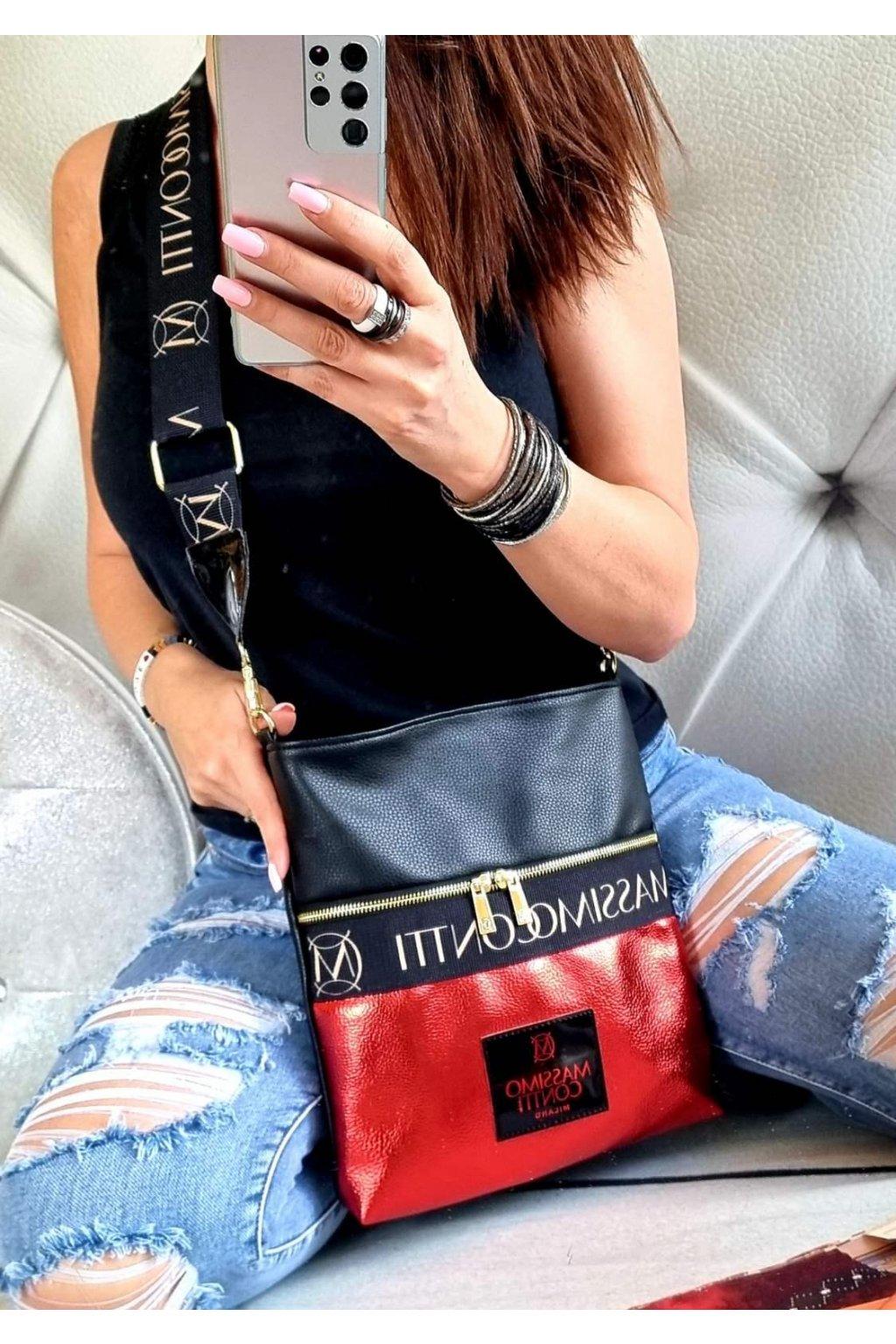 Massimo contti crossbody červenočerná II new kabelka trendy značková luxusní italy fashion