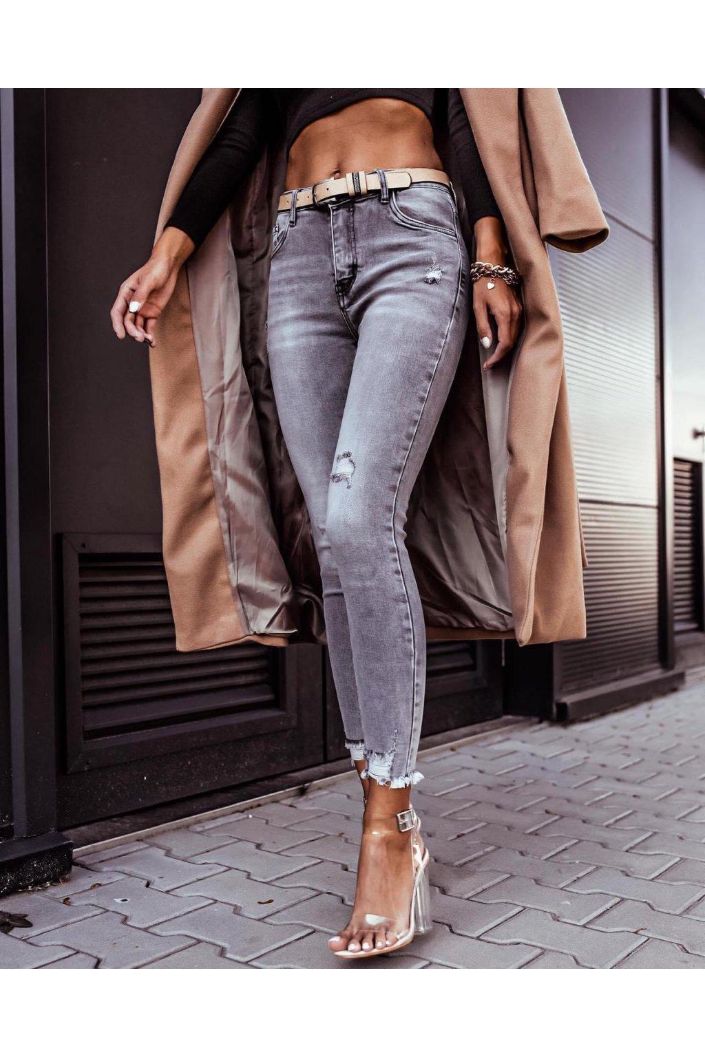 jeans šedé trhané trendy elastické větší velikosti