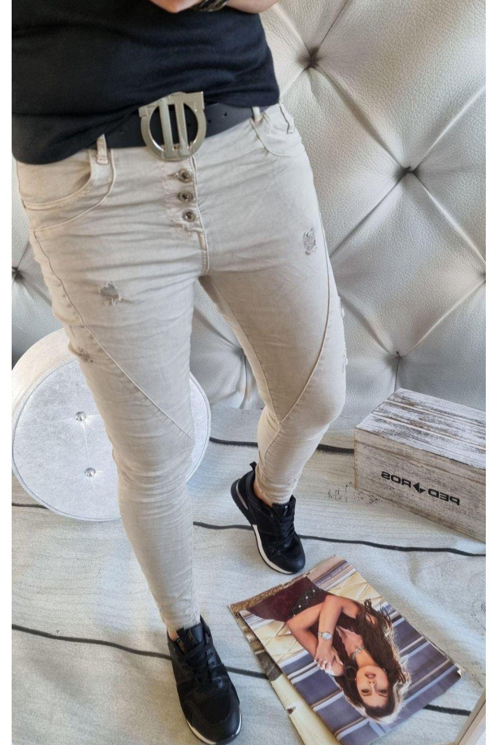 dámské jeans elastické trendy béžové značkové