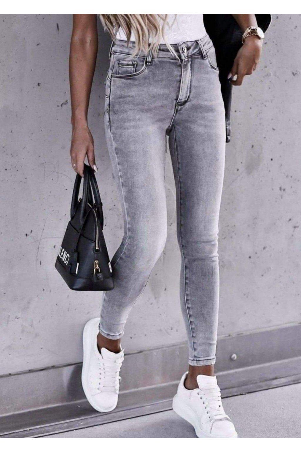 jeans šedé elastické trendy EAZY