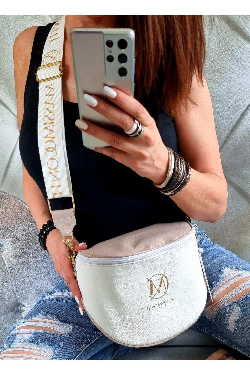 Massimo contti crossbody italy fashion značková luxusní kabelka bílorůžová