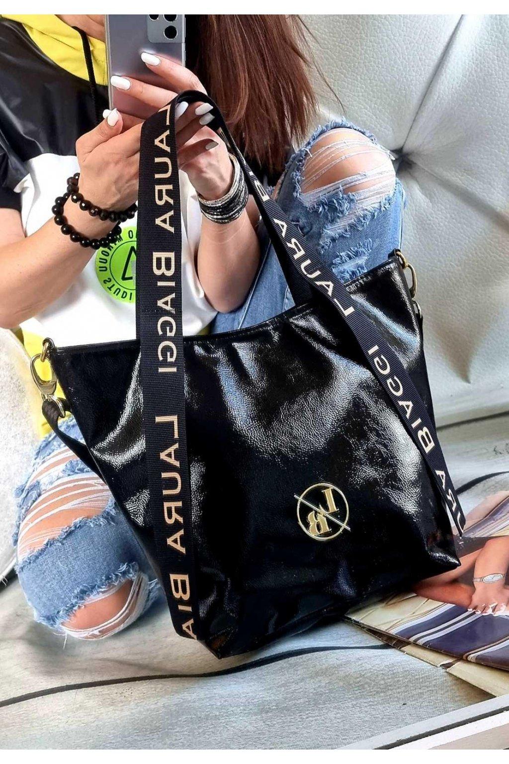 Laura biaggi kabelka trendy značková luxusní kabelka black černá lesk