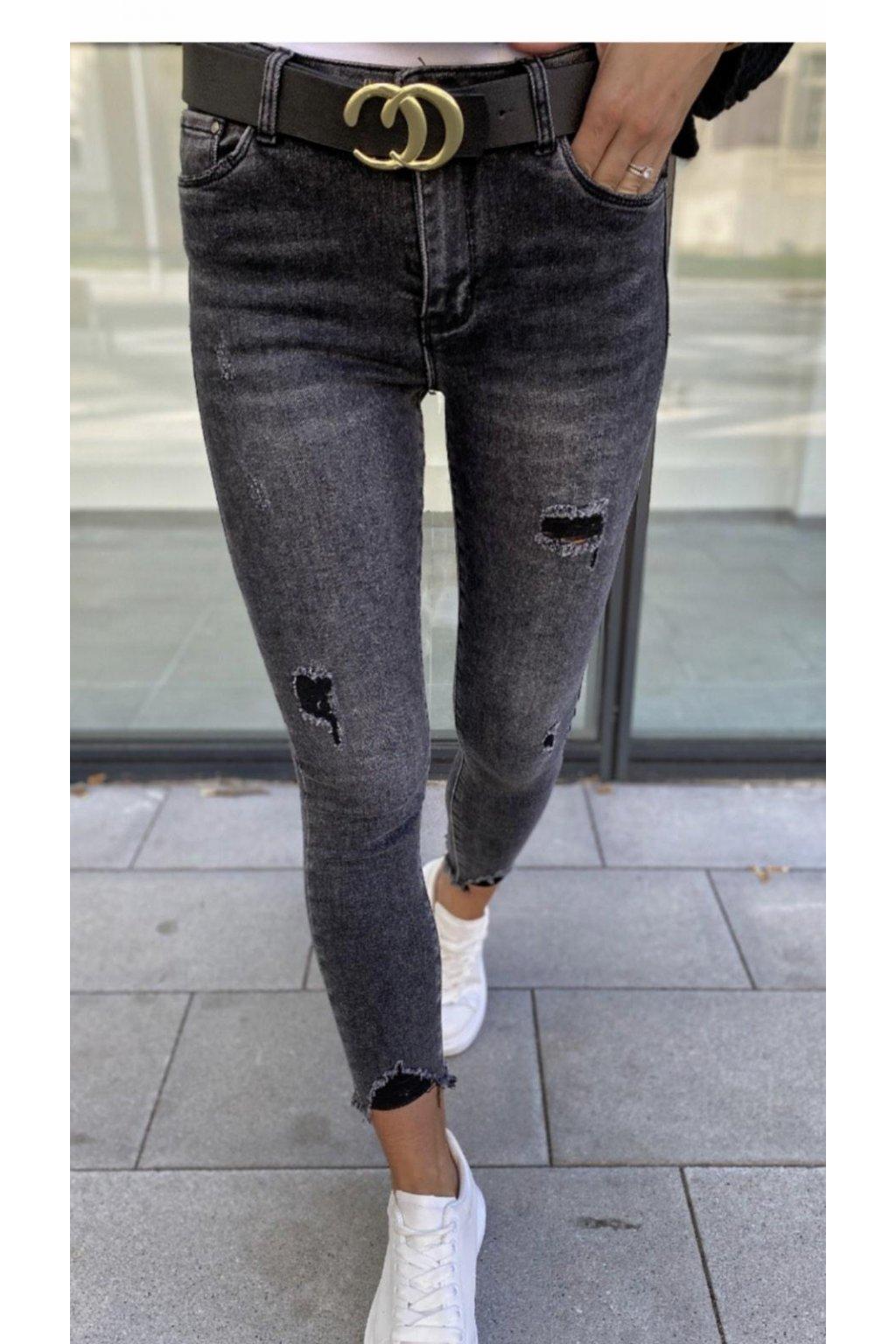 Jeans elastické trendy černošedé menší