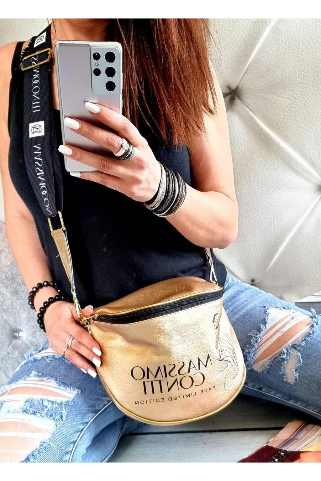 Crossbody massimo italy conte značková luxusní kabelka zlatá face