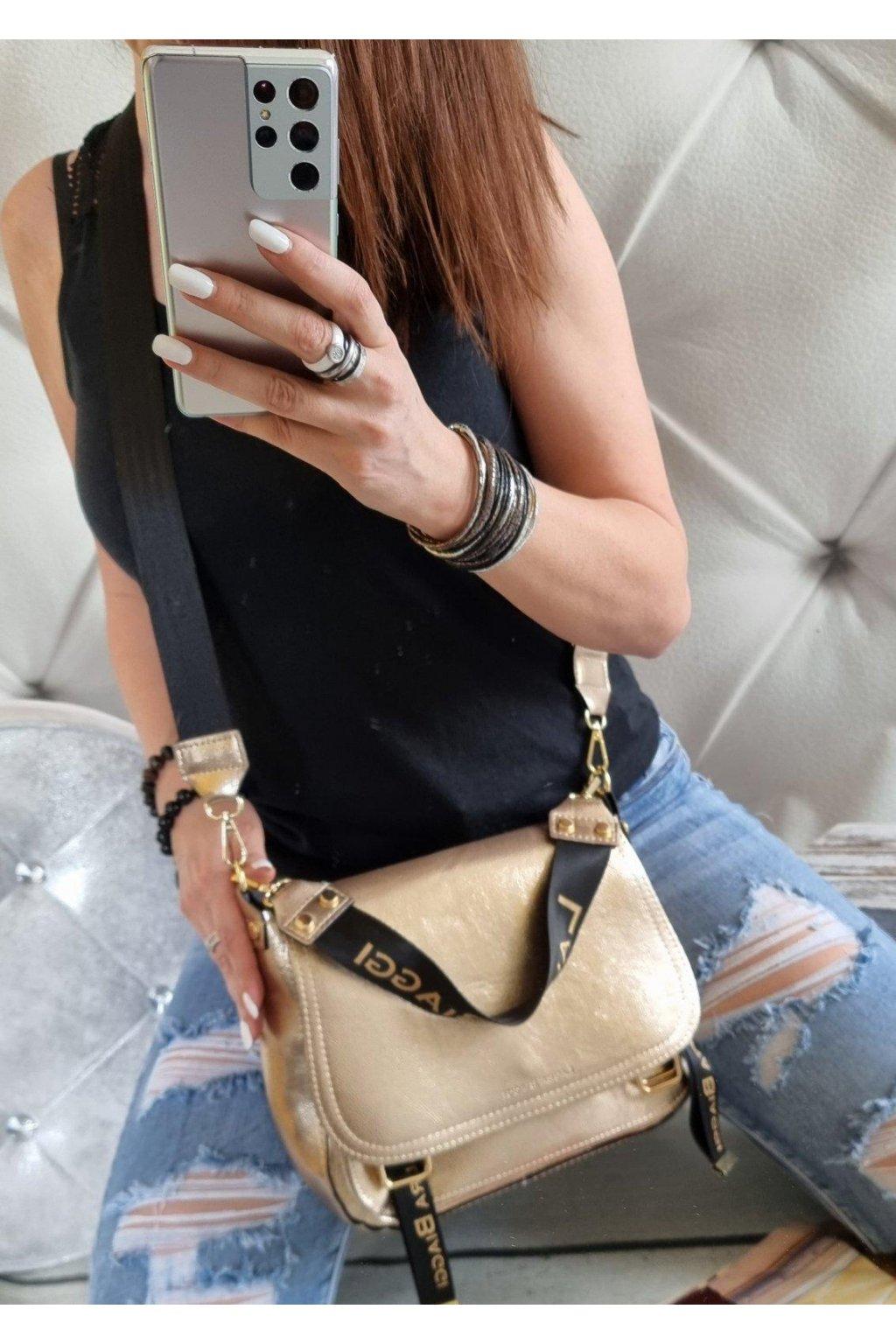 Laura Biaggi Edition značková kabelka crossbody italy style zlatá