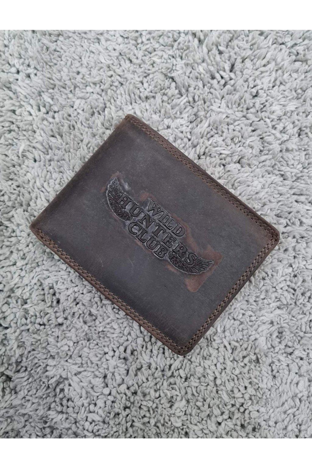 Pánská kožená peněženka lovecký klub hnědá