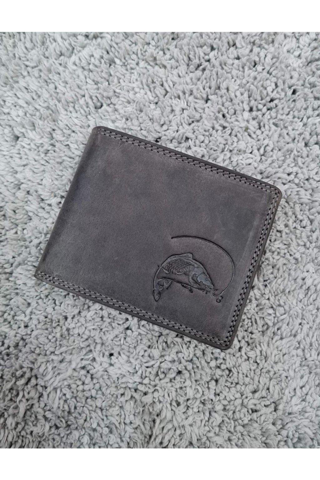 Pánská kožená peněženka s kaprem šedá