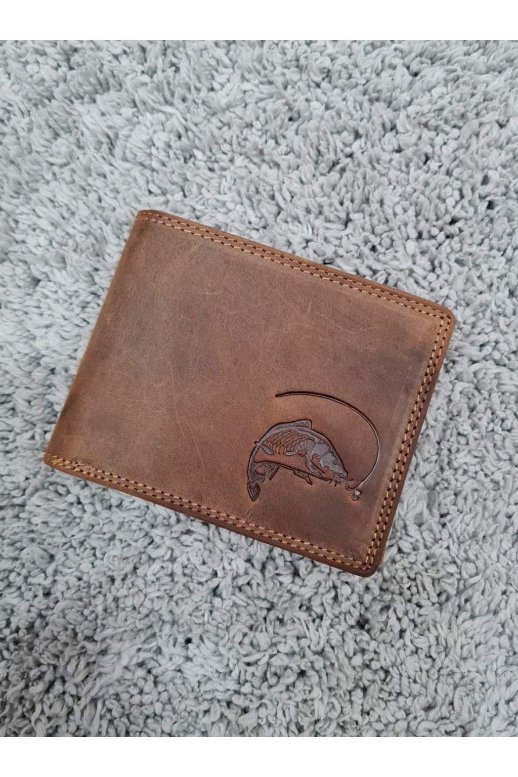 Pánská kožená peněženka s kaprem hnědá
