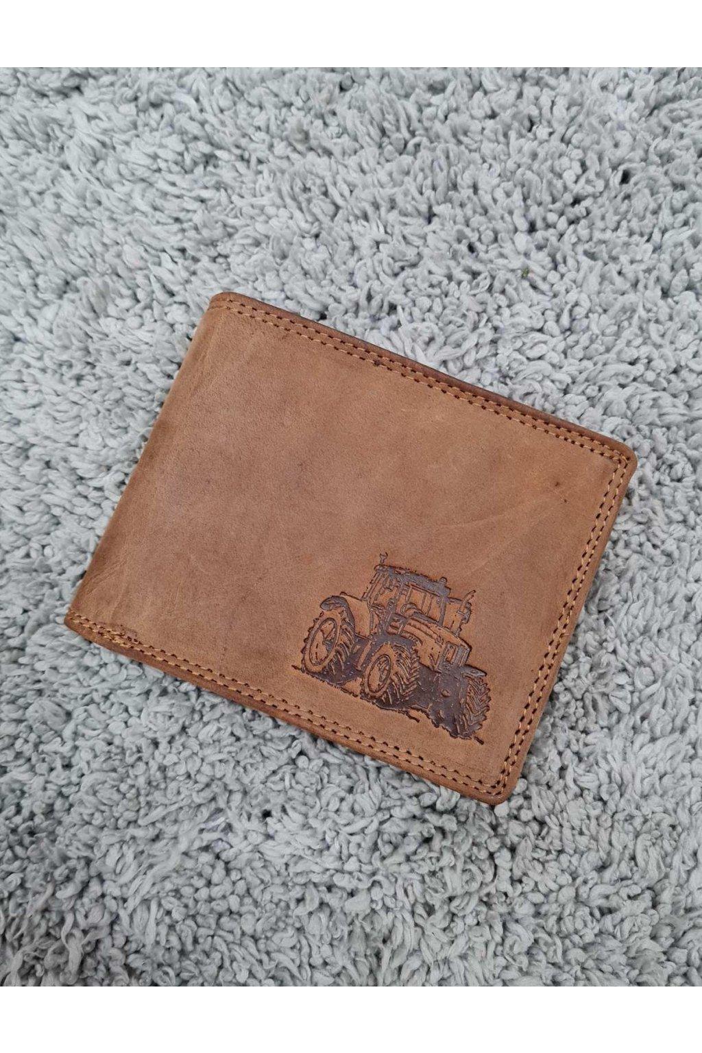 Pánská kožená peněženka s traktorem hnědá