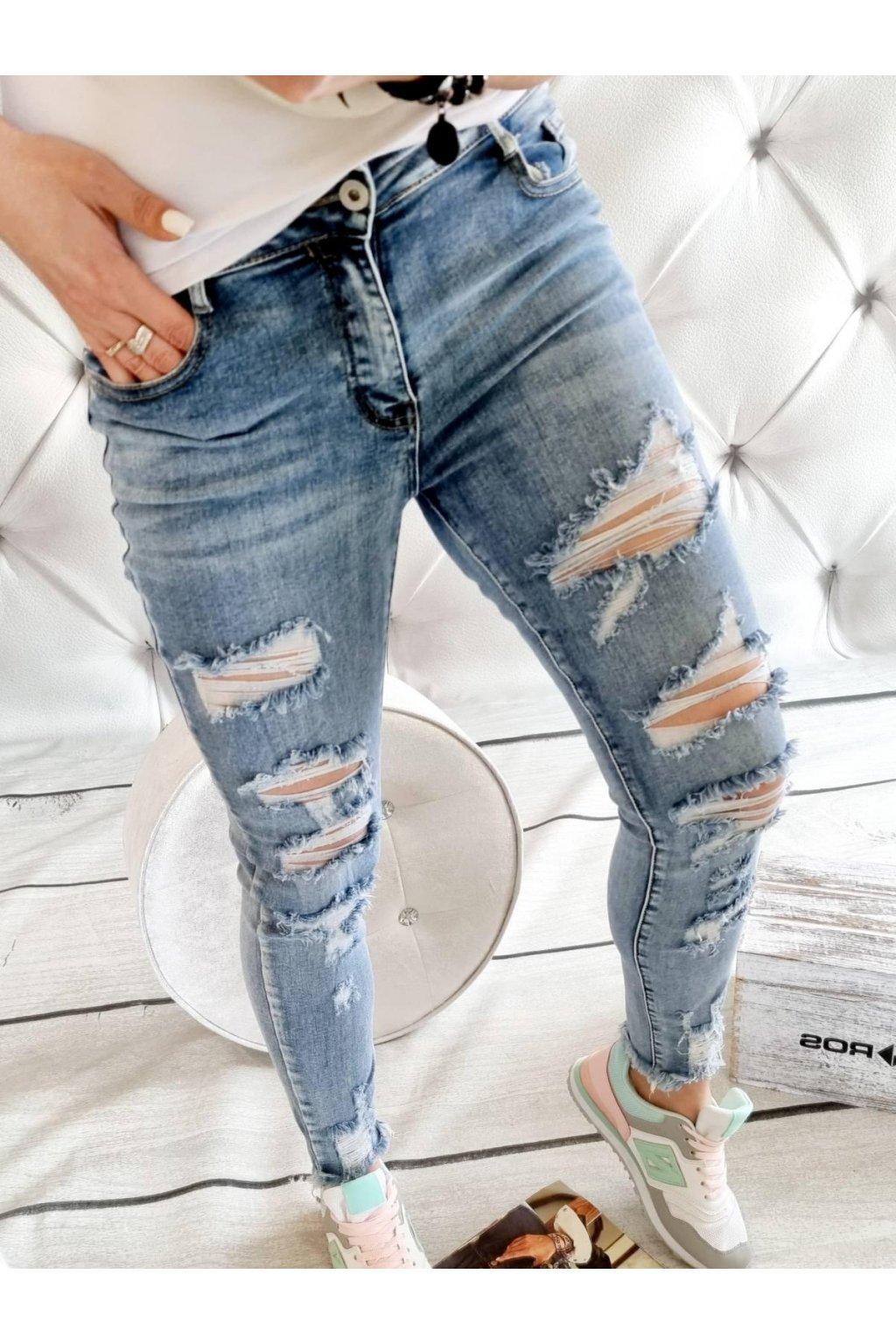 jeans modré trhané trendy elastické