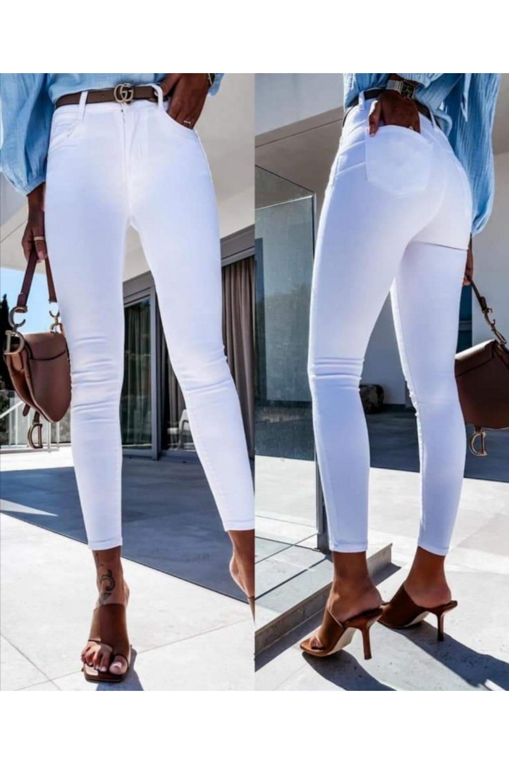 JEANS bílé trendy elastické jednoduché