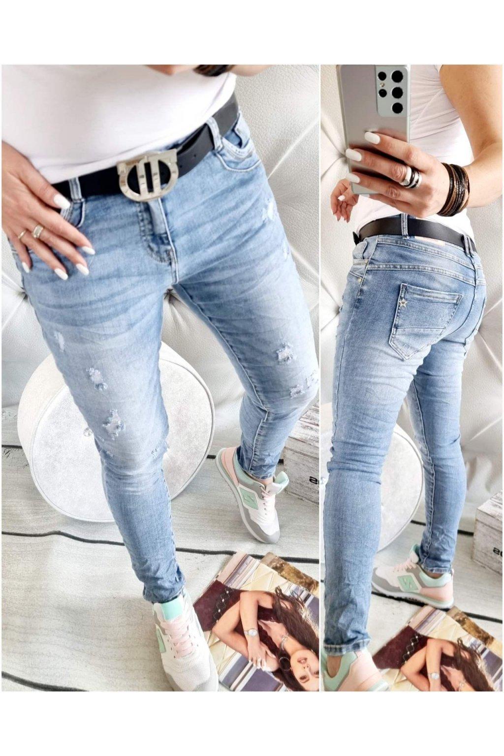 jeans jemně trhané světle modré elastické trendy luxxury