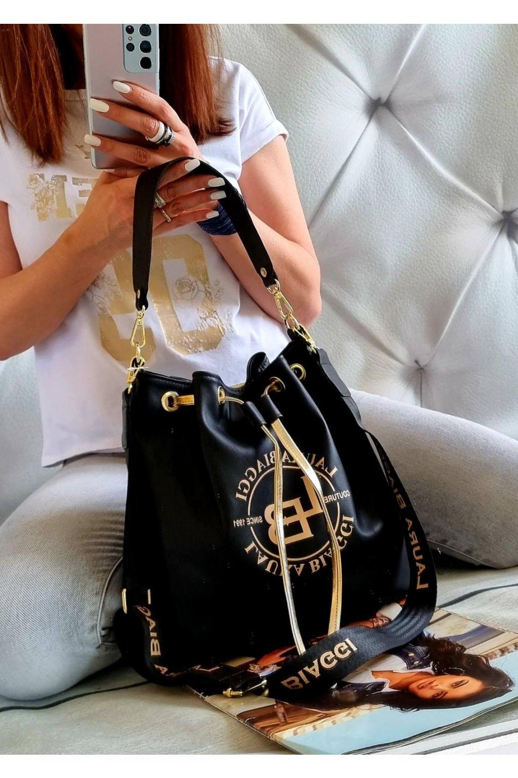 laura biaggi vak černý značková luxusní trendy kabelka