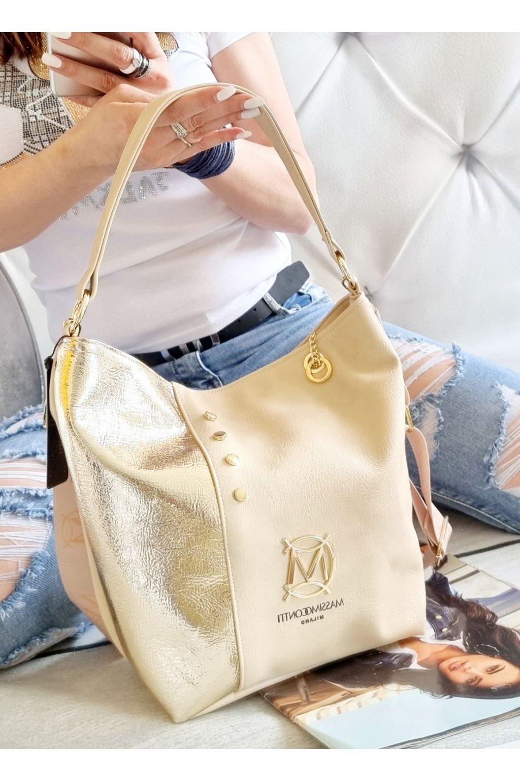 MASSIMO CONTTI kabelka italy fashion luxusní značková kabelka béžová zlatá