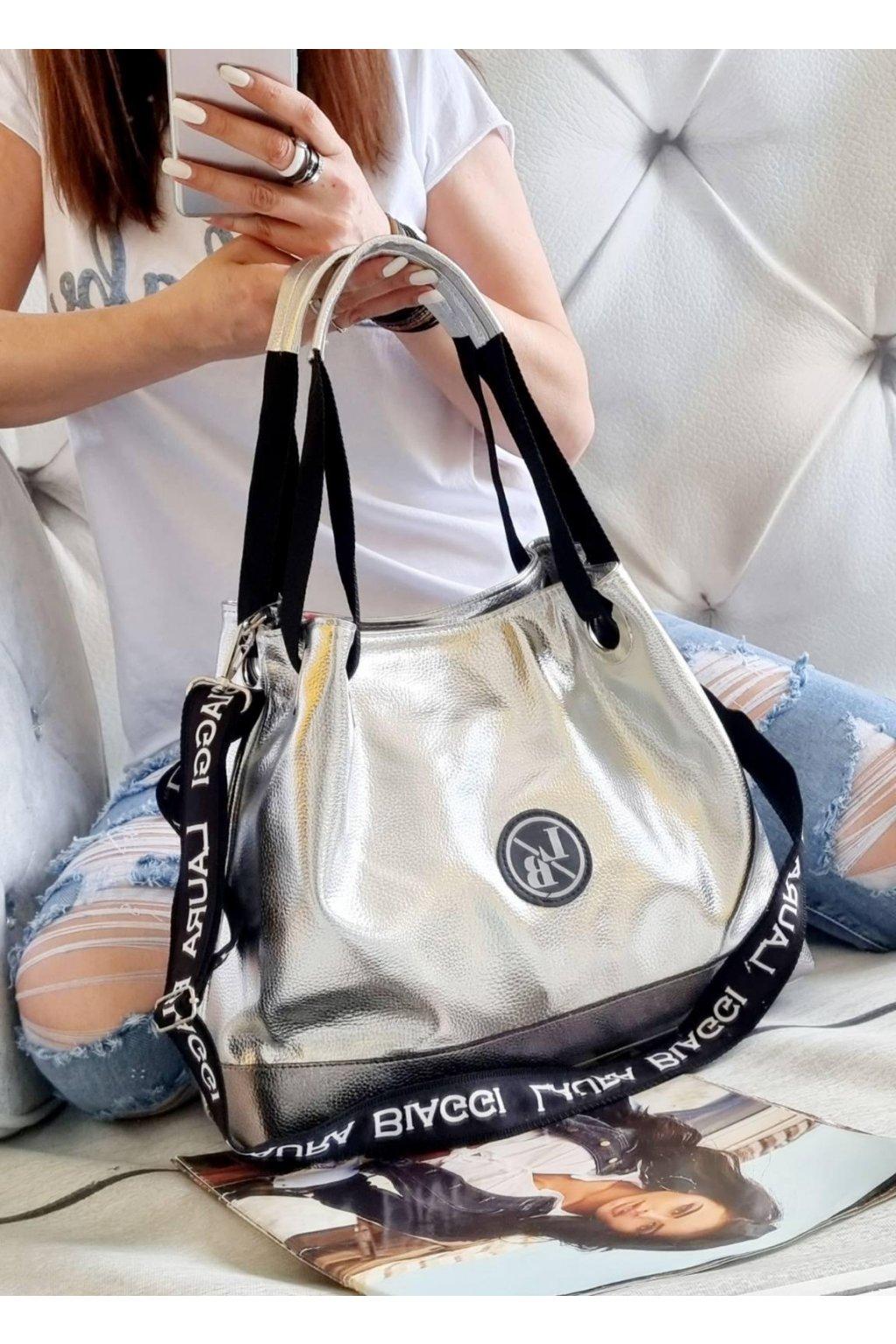 Laura Biaggi kabelka trendy značková luxusní stříbrná torrys
