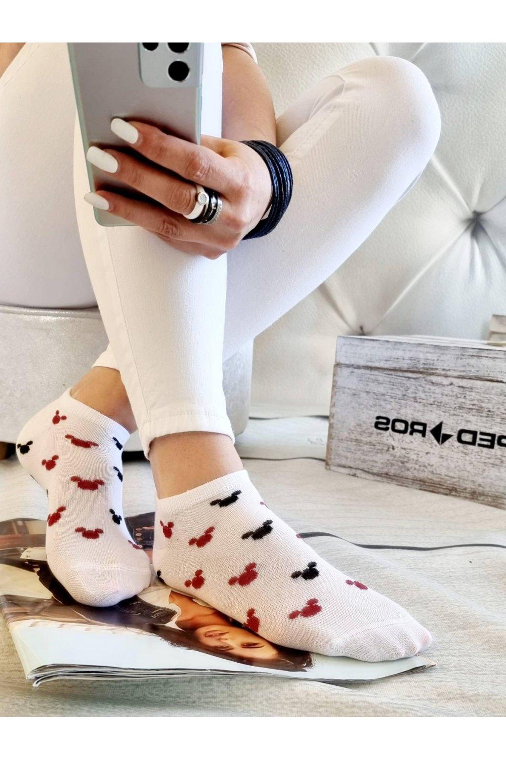 ponožky dámské krátké bavlněné bílé white