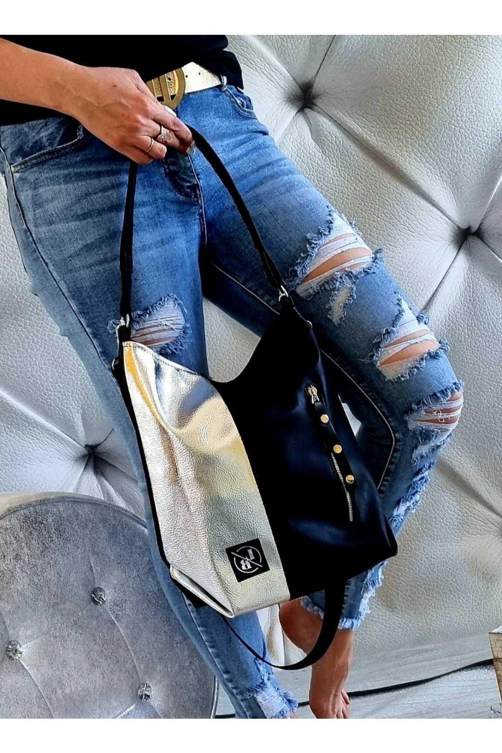 Laura Biaggi kabelka černostříbrná černá a stříbrná trendy luxusní značková kabelka