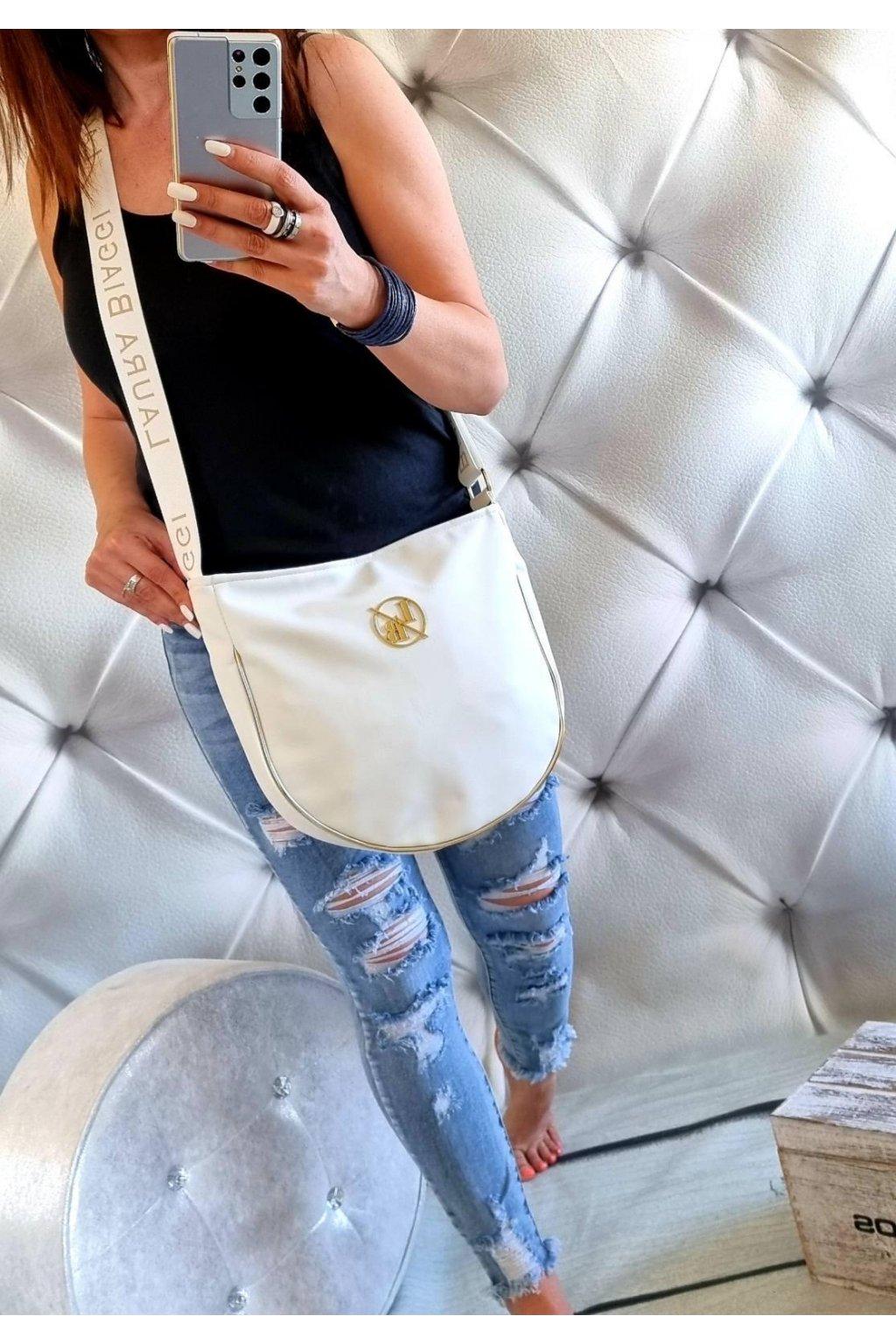 Laura Biaggi kabelka trendy značková luxusní crossbody easy bílá jednoduchá