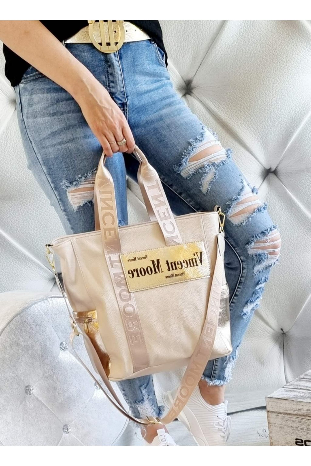 Moore kabelka béžová trendy luxusní značková kabelka
