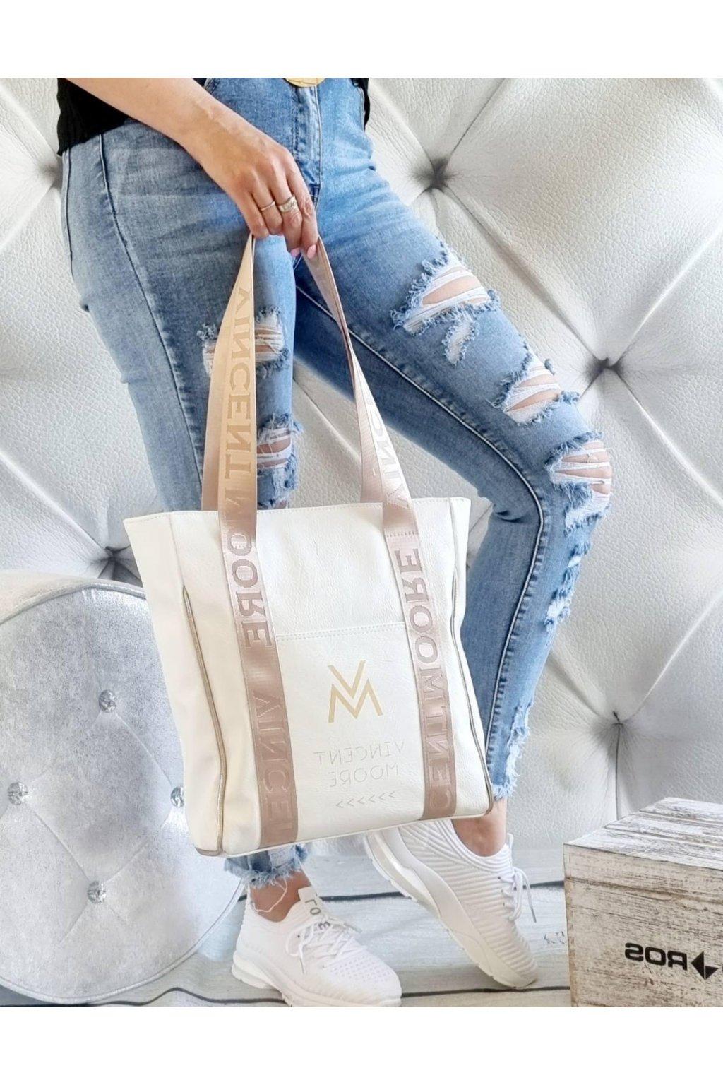 Vincent Moore kabelka béžová trendy luxusní značková kabelka