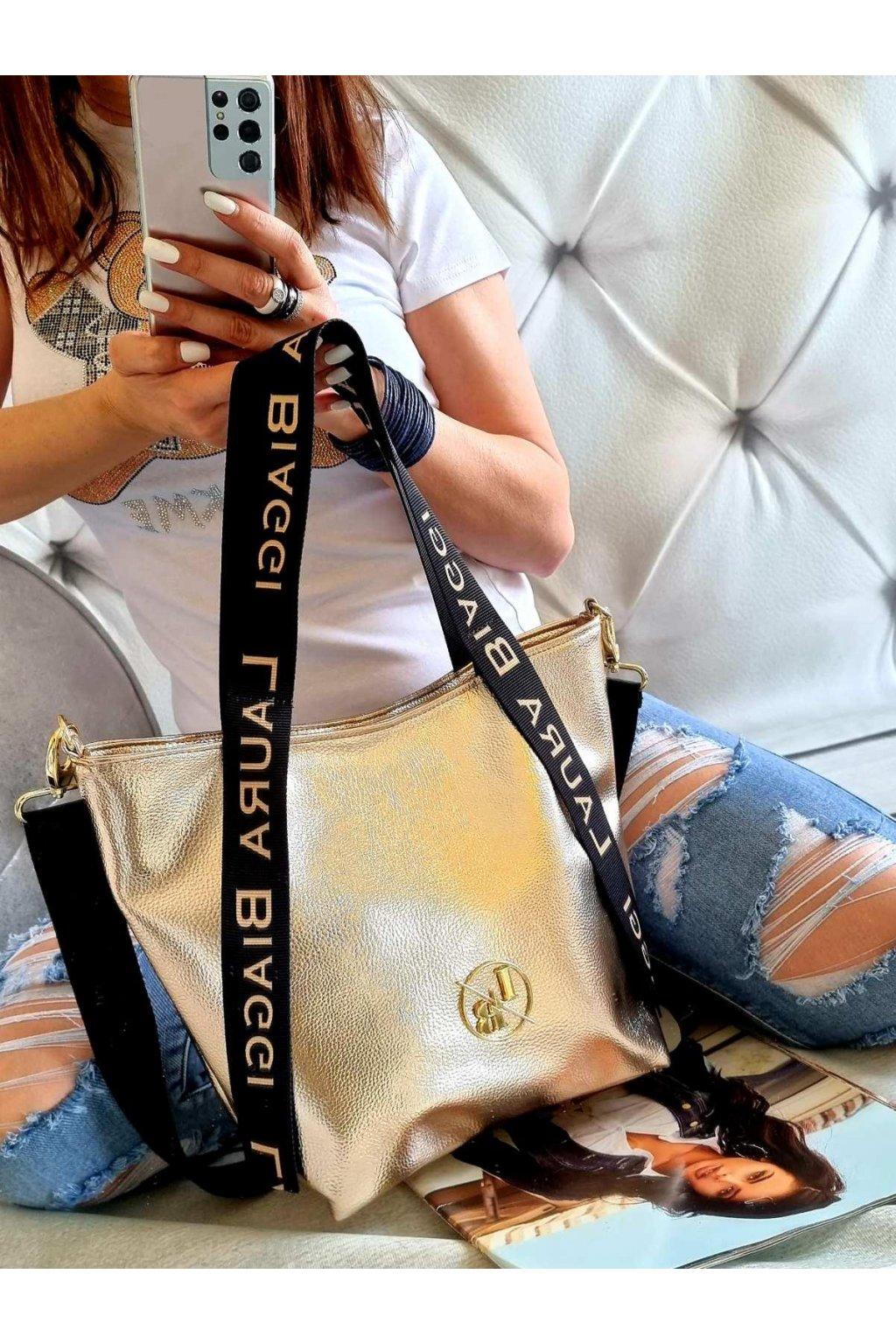 KABELKA LAURA BIAGGI GOLD značková trendy luxusní kabelka zlatá