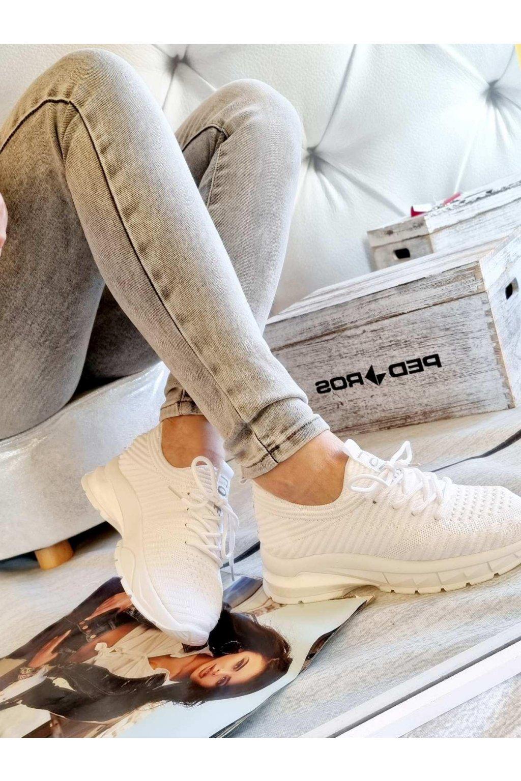 Tenisky WHITY pohodlné textilní tenisky trendy bílé