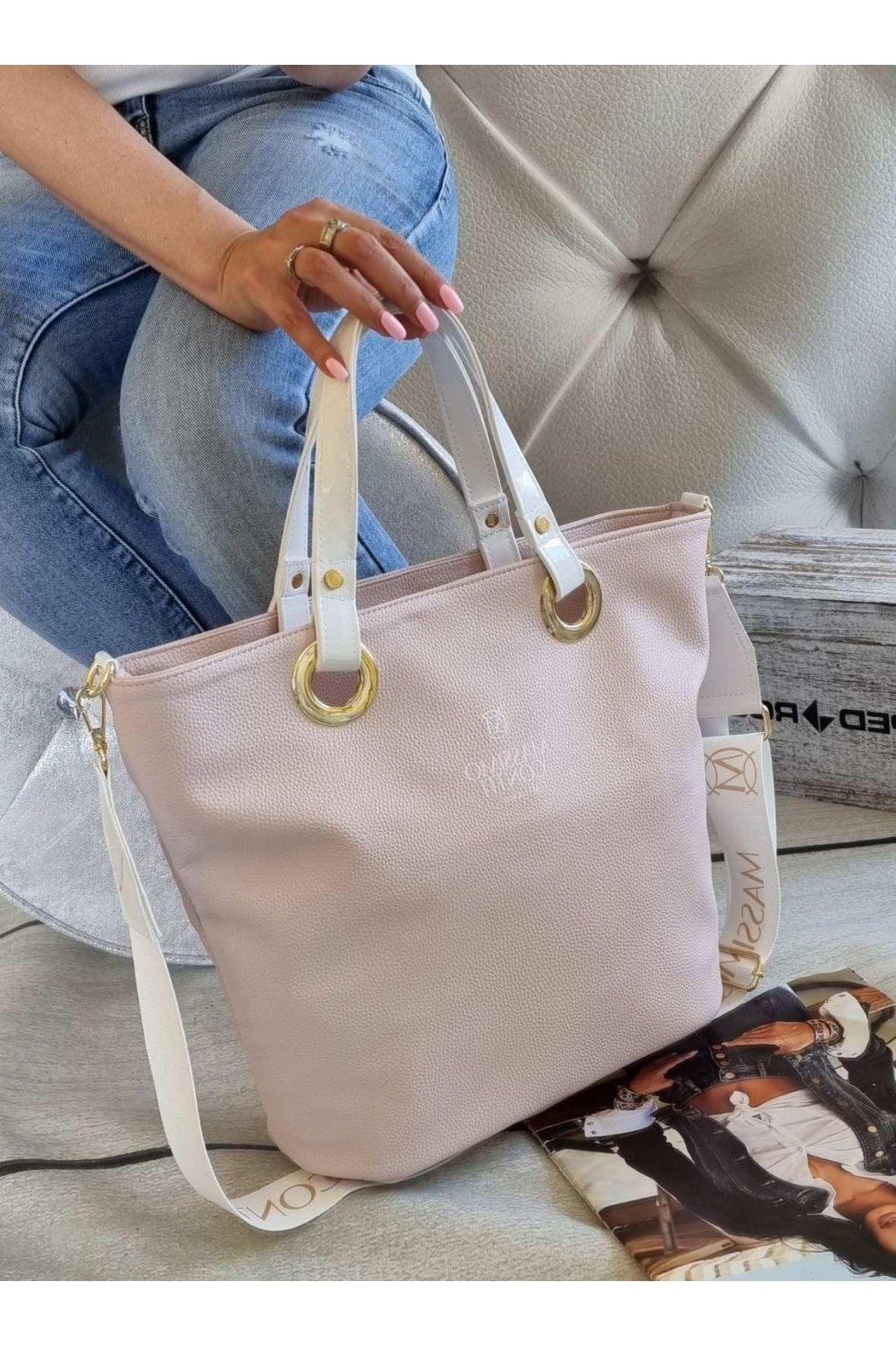 Massimo contti exluzivní značková luxusní kabelka italy fashion pudrová růžová