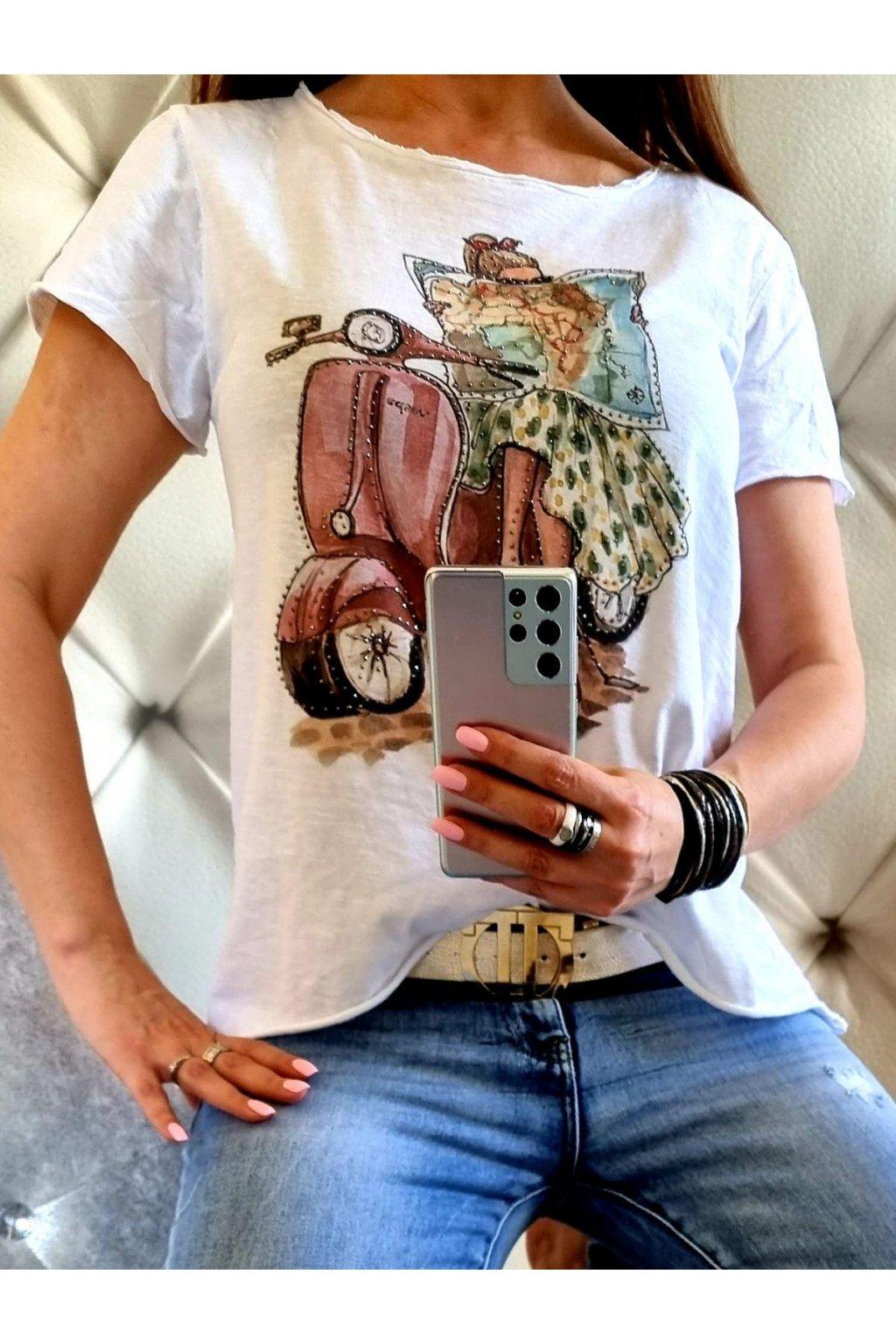 dámské triko bavlna motorbike motorka trendy