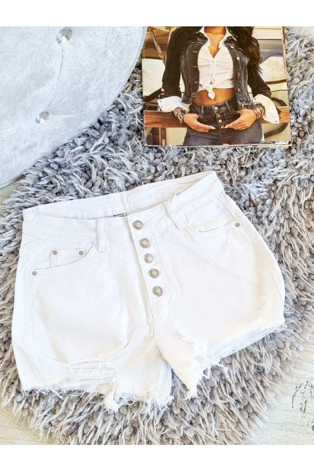 dámské džínové kratasy bílé trendy elastické