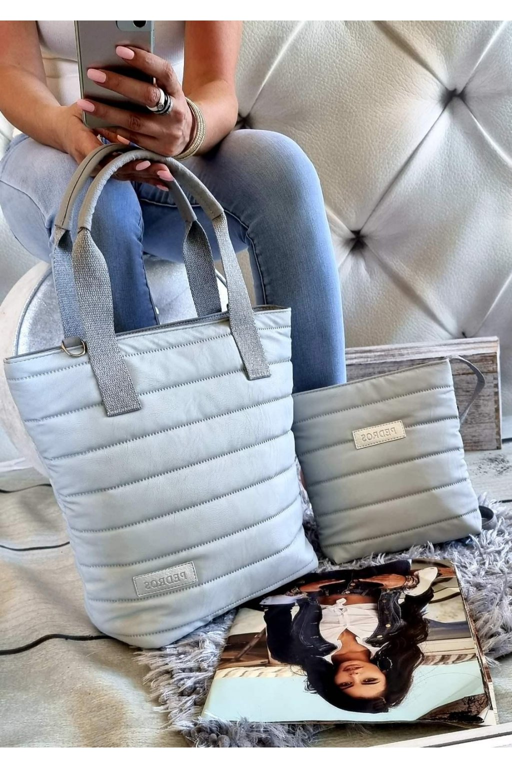 Komplet kabelek pedros šedá barva značková kabelka exlusive