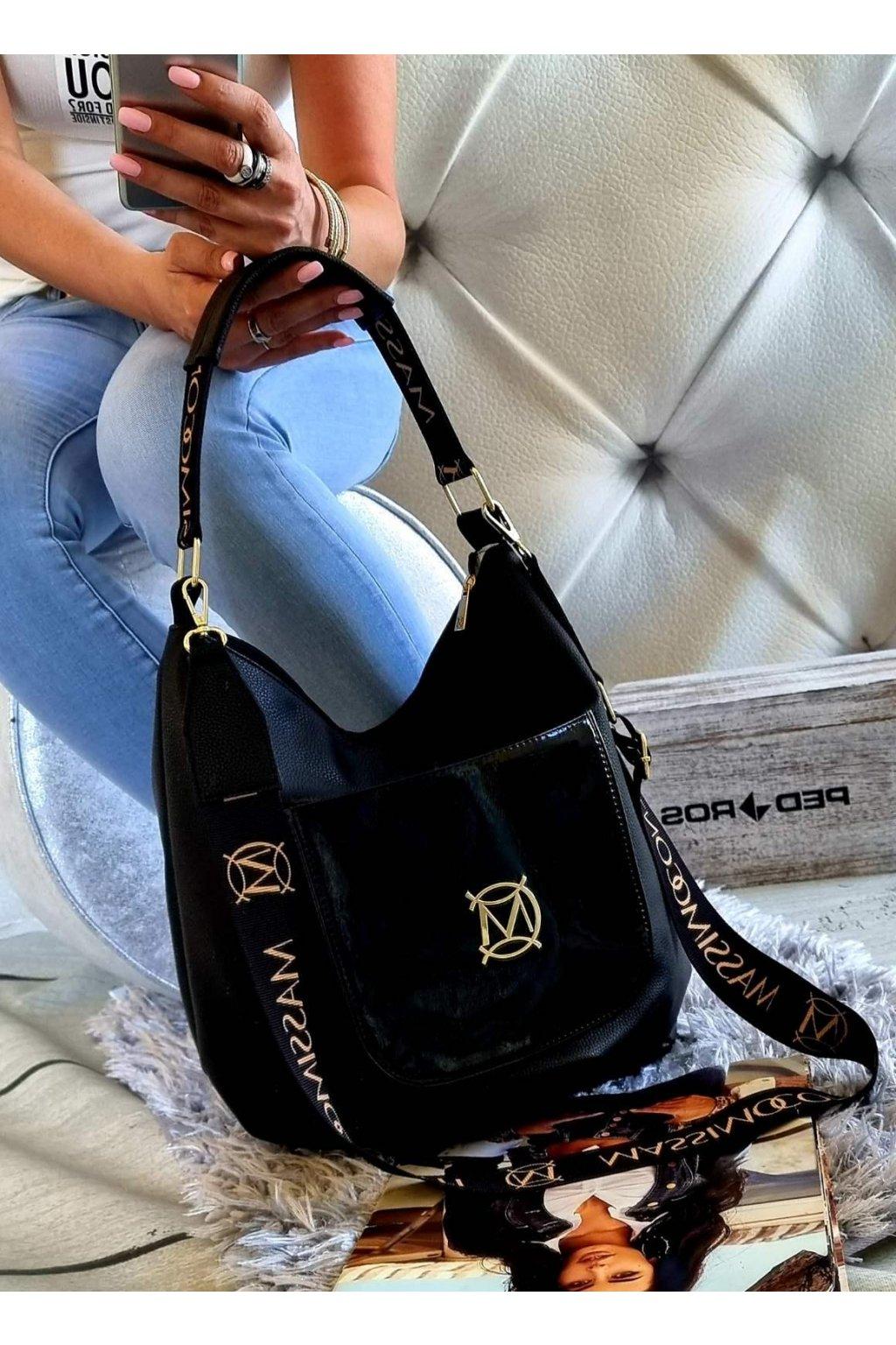 massimo contti černá eazy italy fashion značková luxusní kabelka