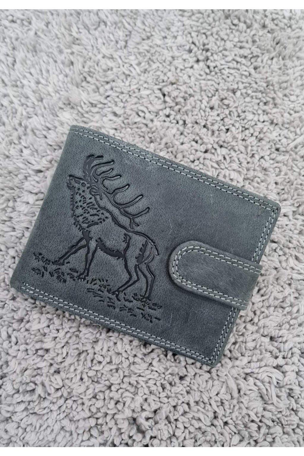 Pánská kožená peněženka s vyraženým s jelenem šedá