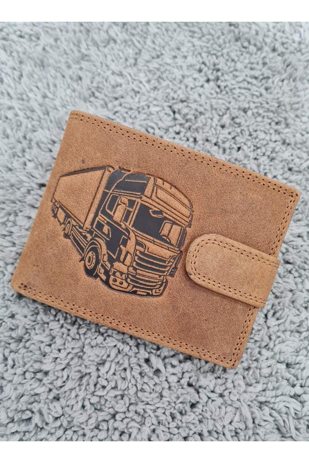 Pánská kožená peněženka s vyraženým kamionem