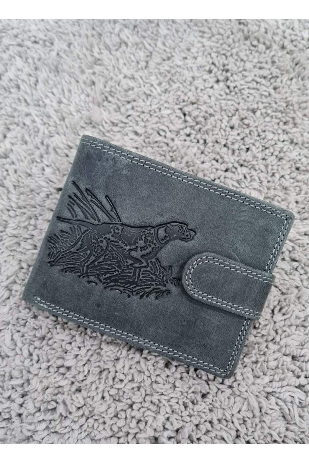 Pánská kožená peněženka s vyraženým loveckým psem šedá