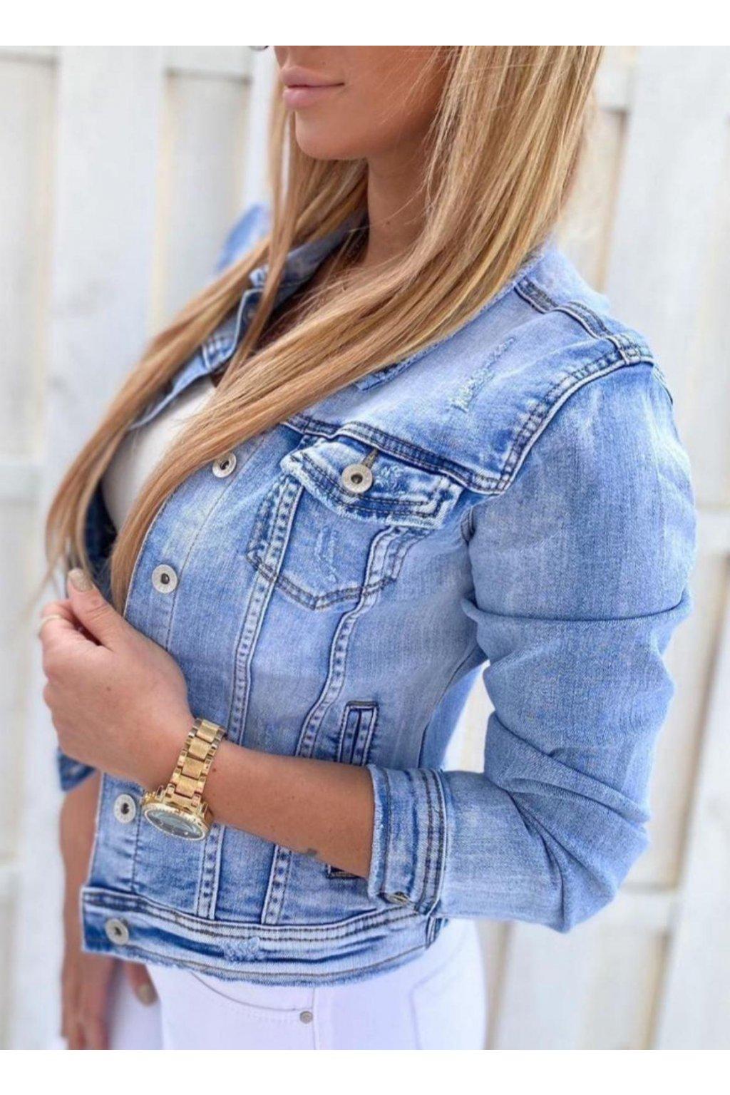 dámská jeans bunda světle modrá trendy s límcem