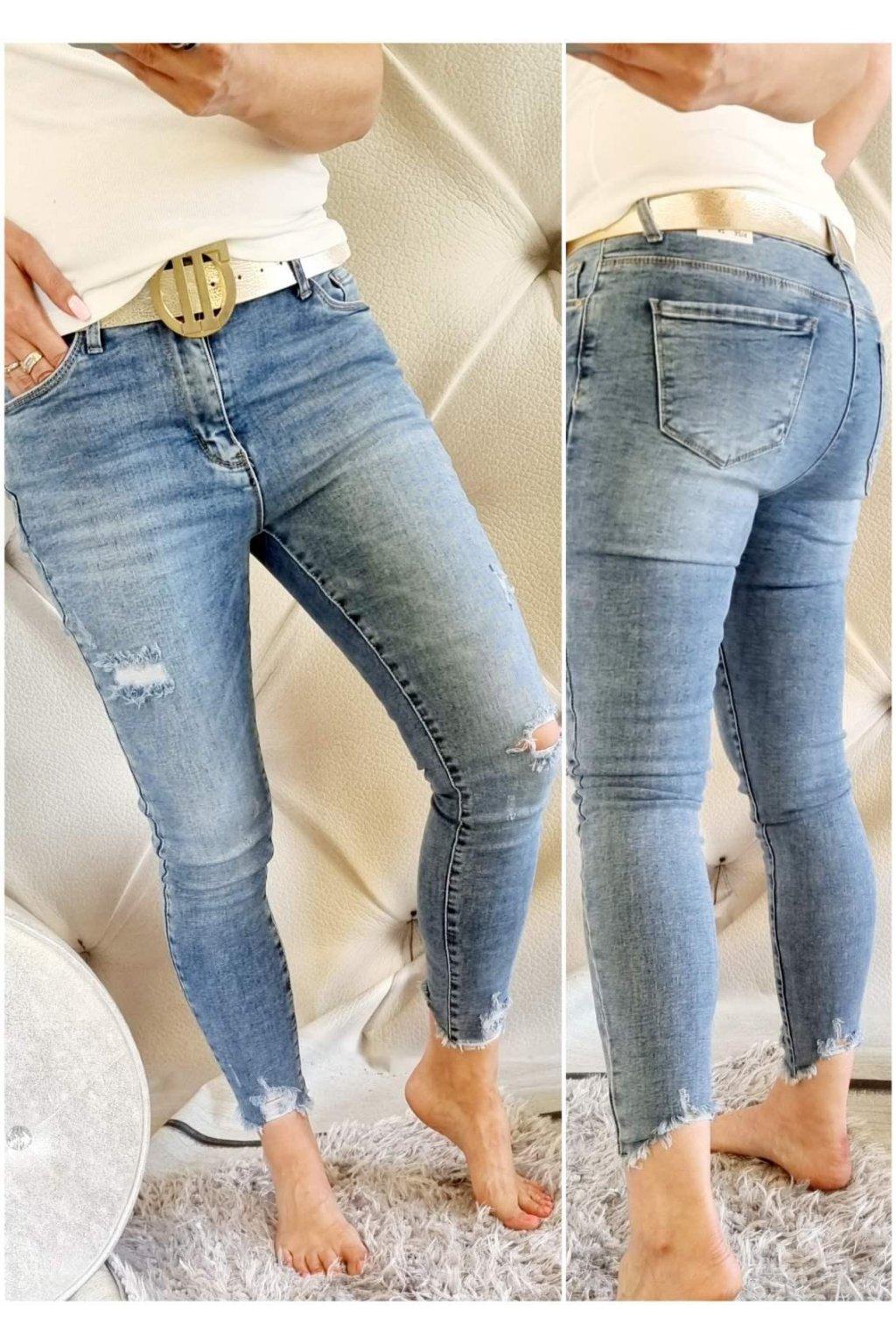 jeans světlé jemně trhané elastické pohodlné trendy