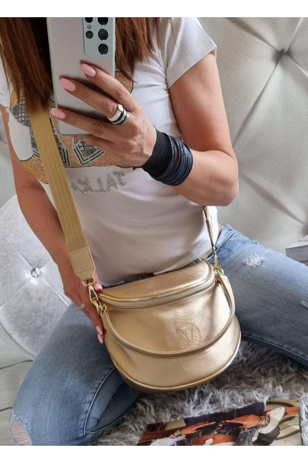 kabelka crossbody vanessa gold značková luxusní zlatá kabelka