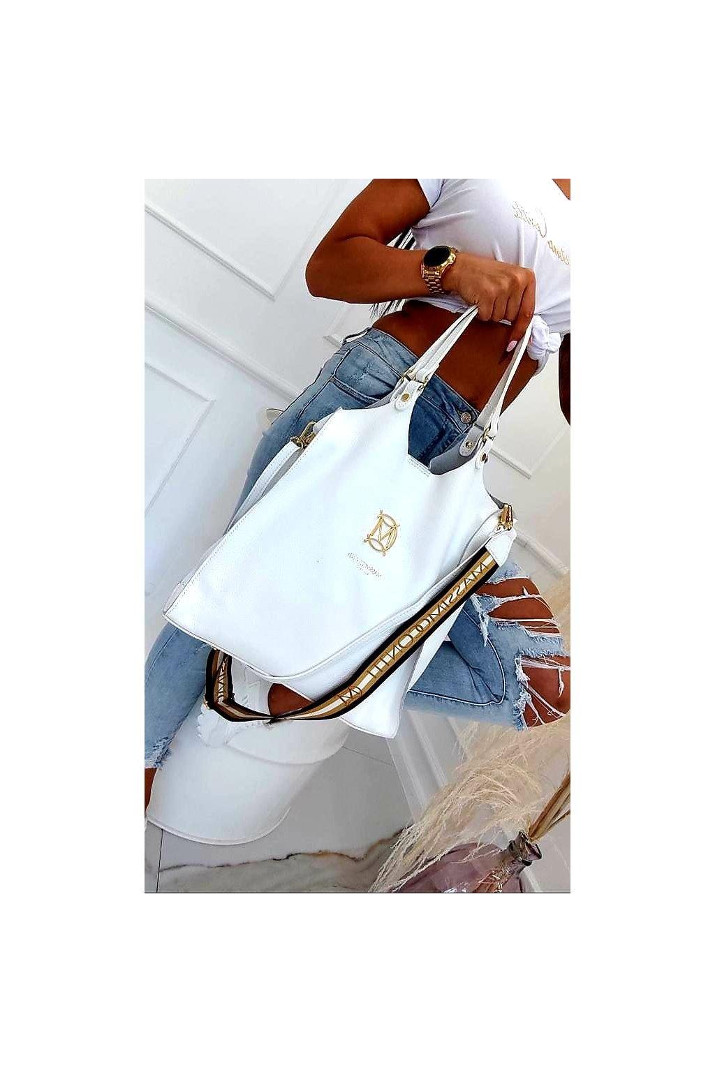 kabelka massimo contti bílá white kůže italy fashion top kabelka