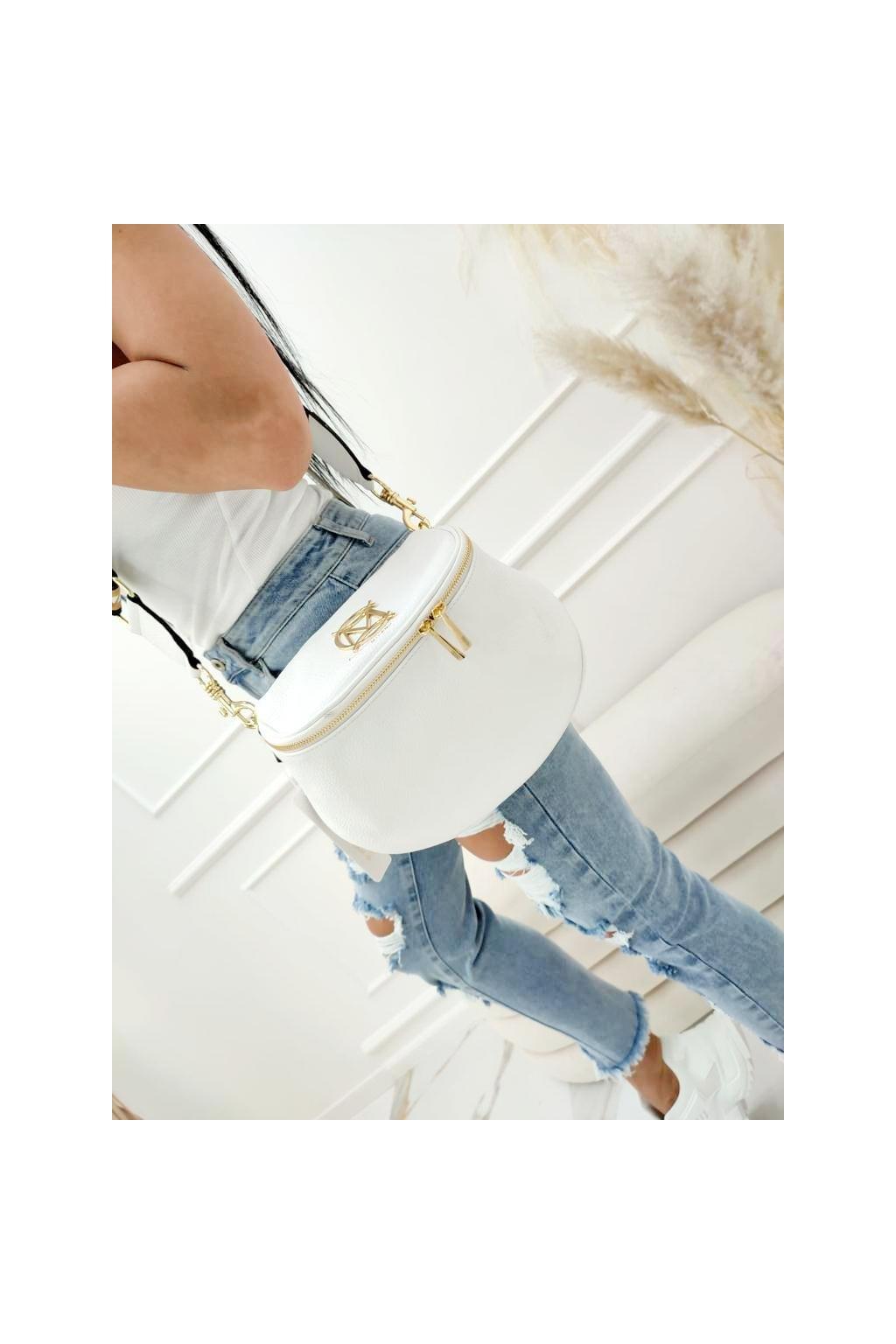 massimo contte italy fashion luxusní značková kožená kabelka bílá white