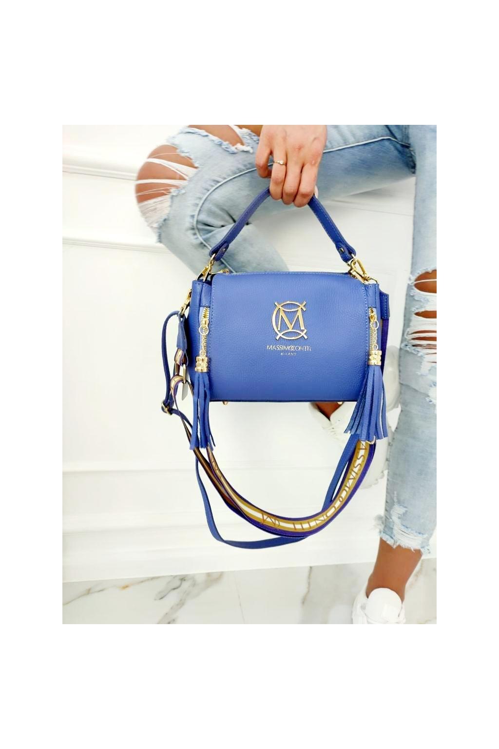 Massimo contti Italy fashion kožená kabelka luxusní style kůže modrá