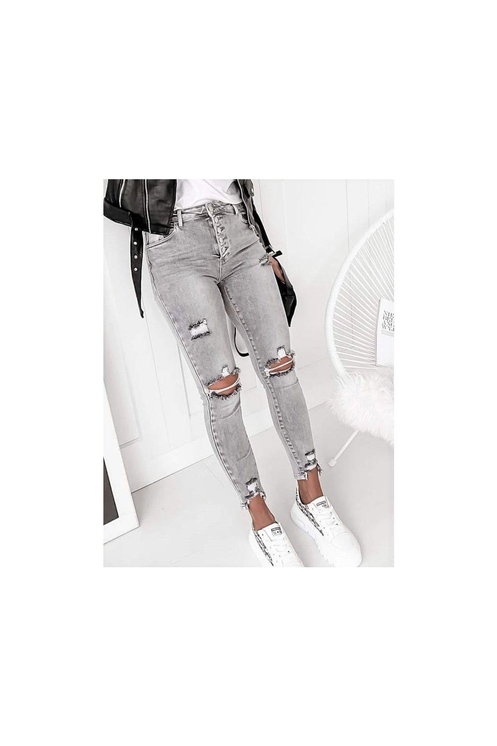 Dámské trhné jeans světle šedé