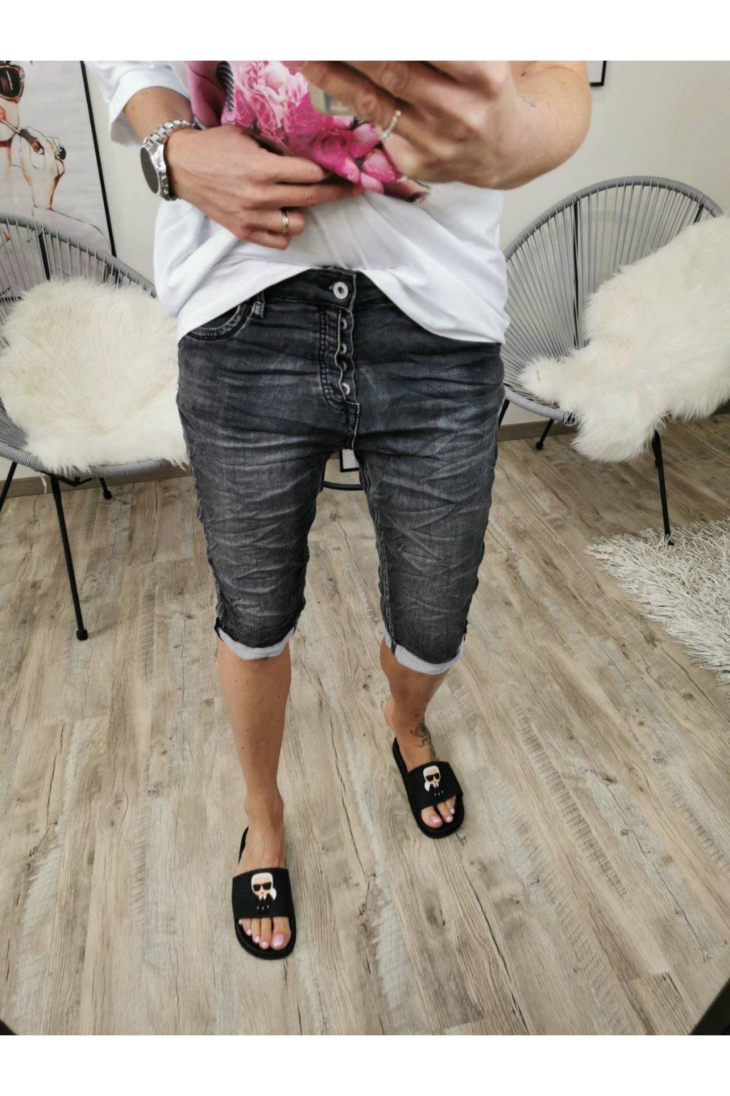 Dámské džínové kraťasy tmavě šedé