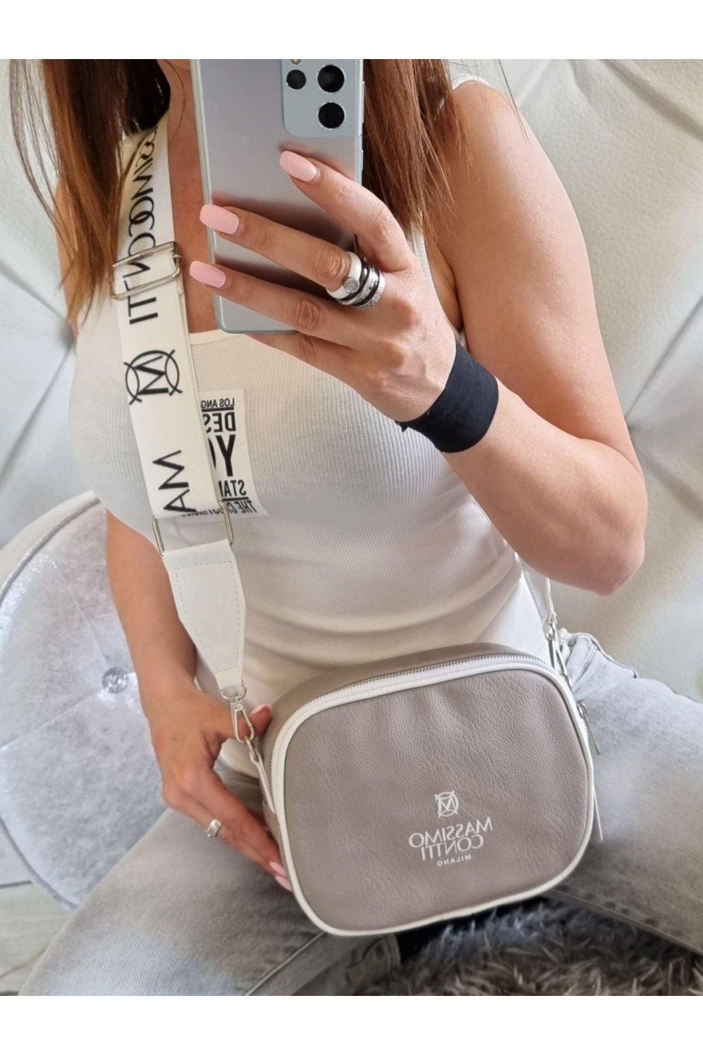 massimo contti crossbody šedá italy fashion luxusní značková kabelka
