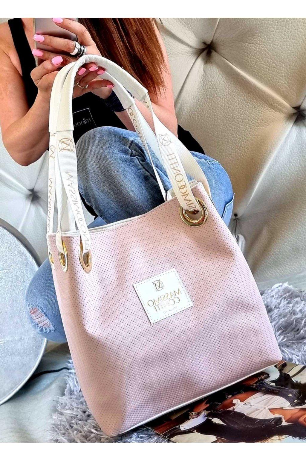 kabelka massimo contti růžová trendy značková luxusní kabelka