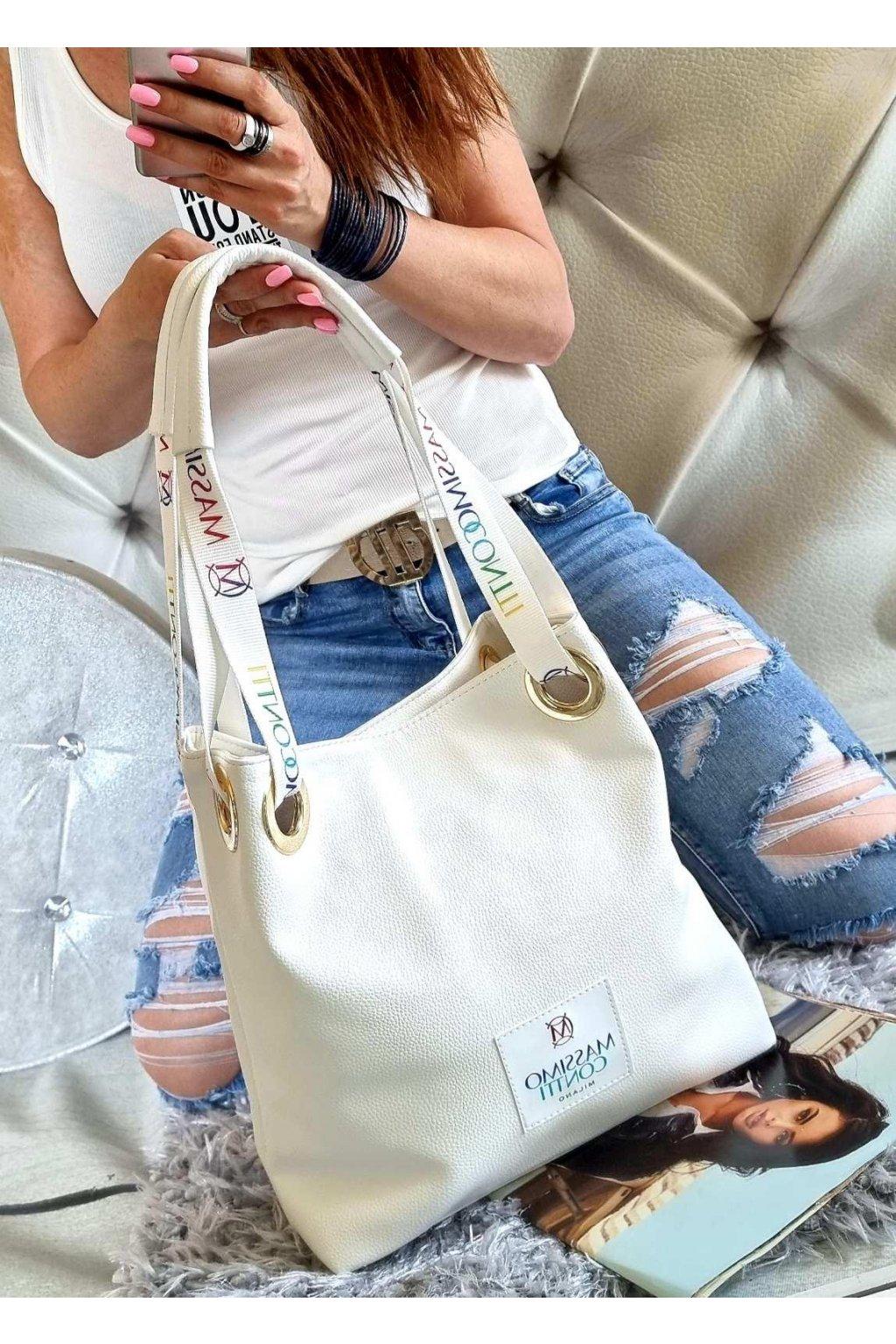 KABELKA massimo contti značková luxusní kabelka white bílá color