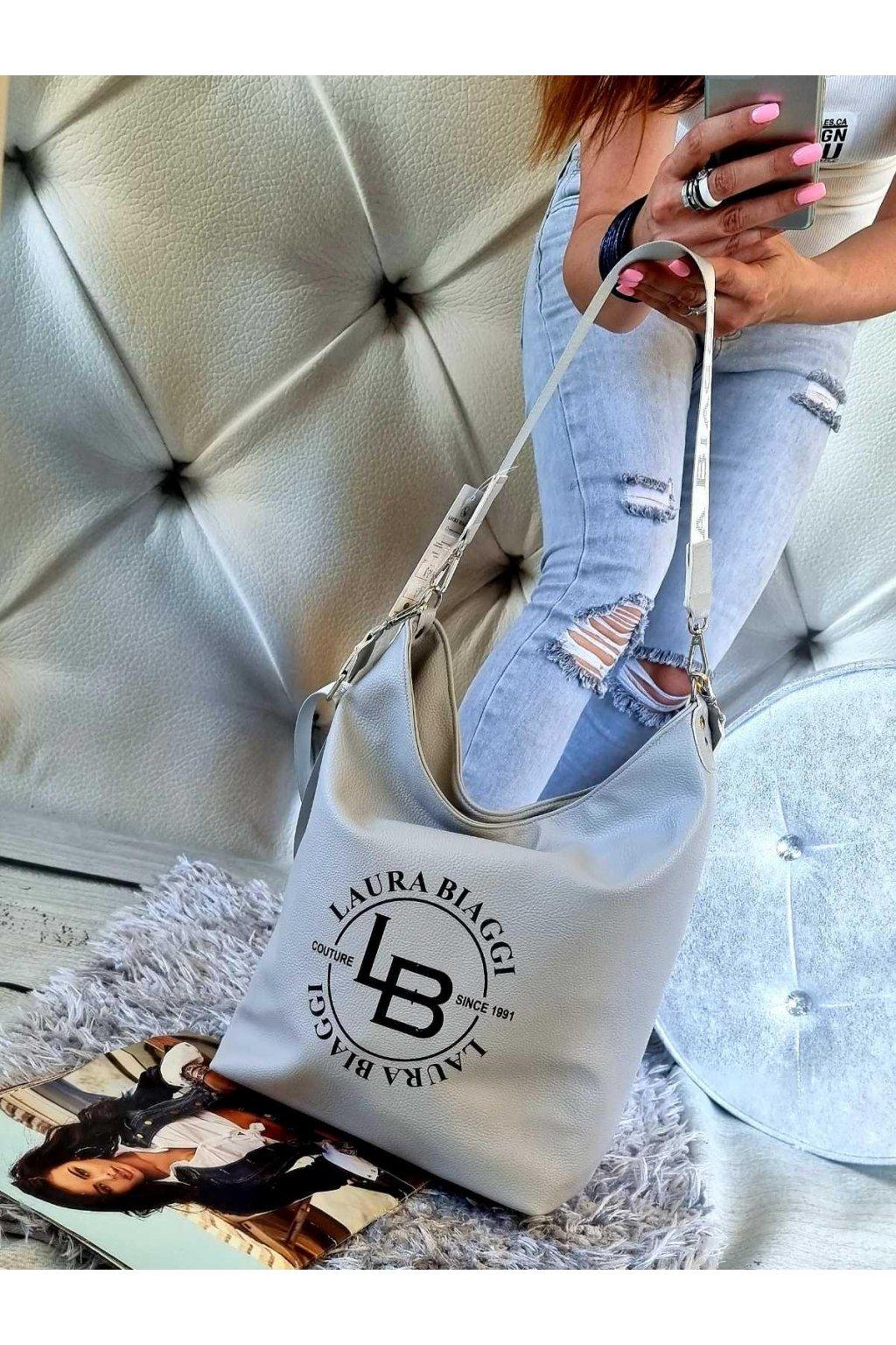 kabelka pytel laura biagi značková luxusní kabelka šedá