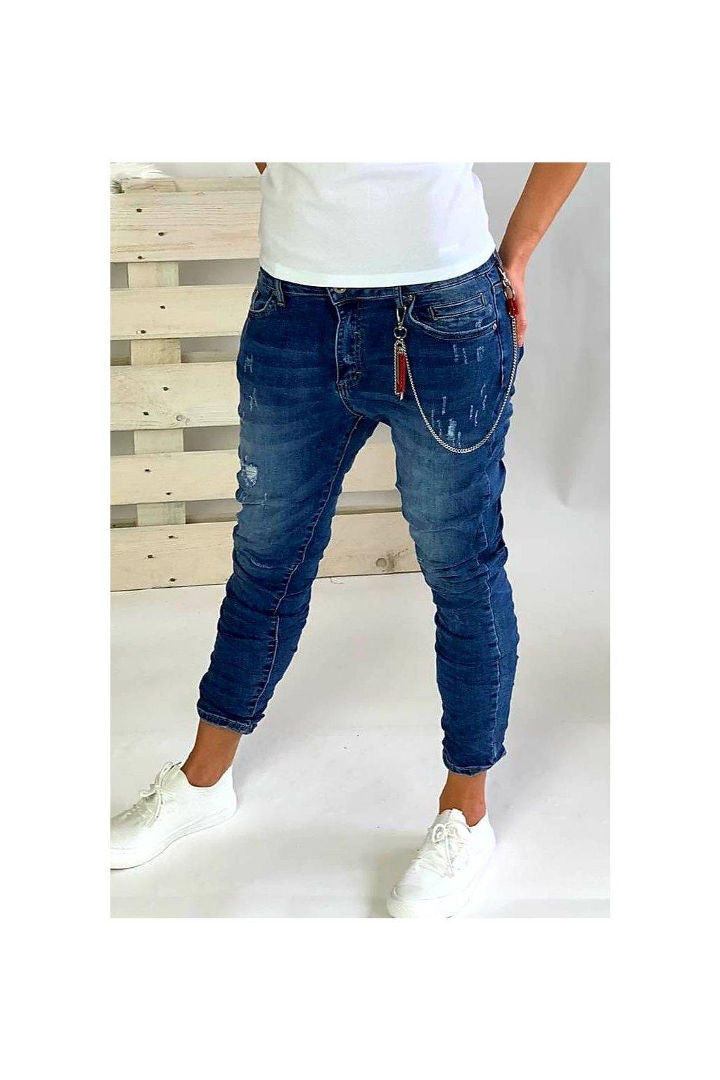 Dámské elastické jeansy modré, trhané